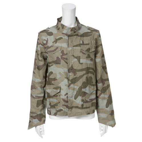 フレア フレアフレンチリネン100%カモフラージュプリントブルゾン(ジャケット ファッション)の画像