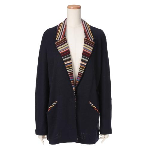 ミアジア ミアジアイタリアンヤーンマルチボーダーアクセントテーラードジャケット(ジャケット ファッション)の画像
