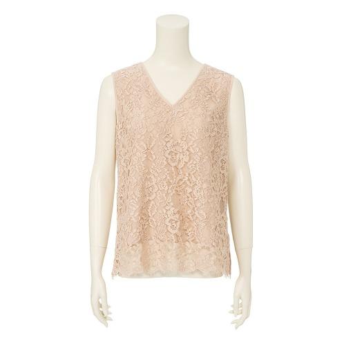 デミルクス ビームス デミルクス ビームスリバーレースVネックノースリーブプルオーバー(セーター ファッション)の画像