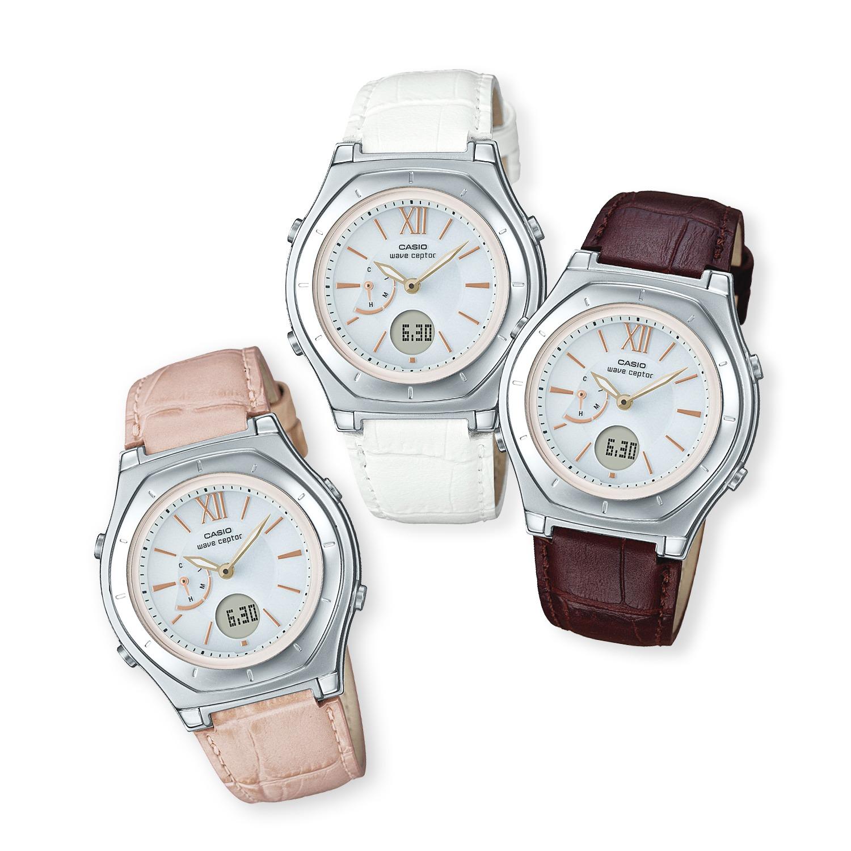"""b564089e1c194a カシオ レディース 電波ソーラー腕時計 """"ウェーブセプター"""" <レザー ..."""