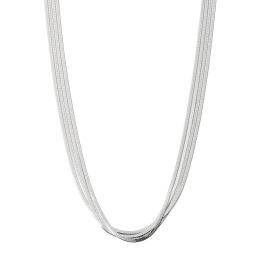 エクセラ イタリアン・シルバー 2層コーティング ヘリンボーンチェーン 多連ネックレス