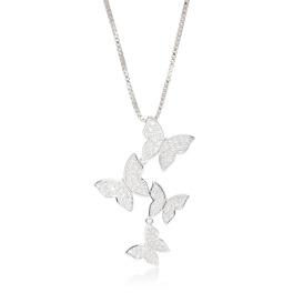 ヌール・ロンドン CZ 幸せ舞う胡蝶の輝き バタフライモティーフ スライドロングネックレス
