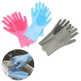 モノコト スポンジとブラシが一体化 手指感覚で汚れスッキリ シリコン製 マジックグローブ 3色セット
