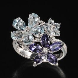 18Kホワイトゴールド ダイヤモンド&アクアマリン&アイオライト フラワーモティーフリング