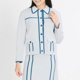 ポピーレッド 配色デザイン ステンカラー ニットジャケット