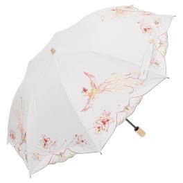シノワズリーモダン 15周年記念 女優日傘プレミアム 鳳凰刺しゅう かわず張り 晴雨兼用折りたたみ傘