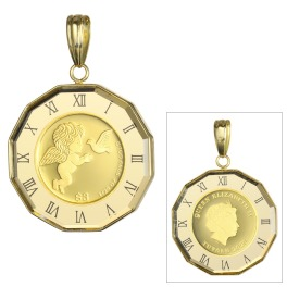 祈平 英連邦ツバル政府発行 純金エンジェルコイン 1/25オンス 時計枠 リバーシブル ペンダントトップ