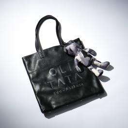オリタタ 牛革ロゴデザイン やわらかトートバッグ くまちゃん エコバッグ付